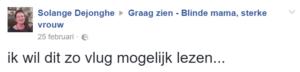 """reactie Solange Dejonghe """"graag-zien"""" het oek"""